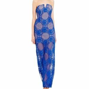 Gianni Bini Strapless Blue Lace Dress